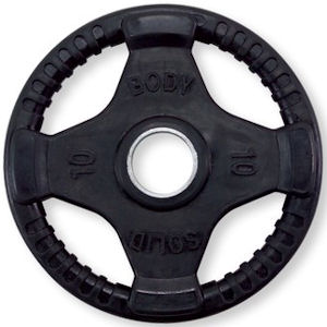 Body Solid Olympic Free Weight Plate Rubber Coated Grip Black 10