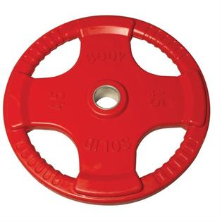 Body Solid Olympic Free Weight Plate Rubber Coated Grip Red 45#