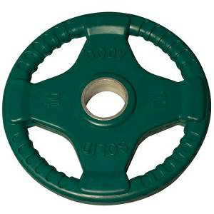 Body Solid Olympic Free Weight Plate Rubber Coated Grip Green 10