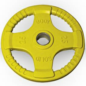 Body Solid Olympic Free Weight Plate Rubber Coat Grip Yellow 25#