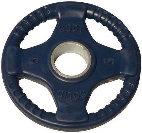 Body Solid Olympic Free Weight Plate Rubber Coated Grip Blue 5#