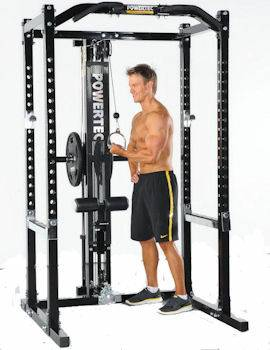 PowerTec Power Squat Rack Cage Gym System & Lat Tower WB-PR16LTO