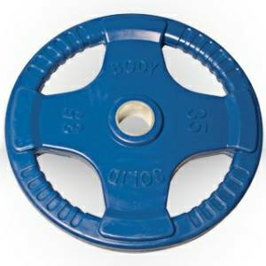 Body Solid Olympic Free Weight Plate Rubber Coated Grip Blue 35#