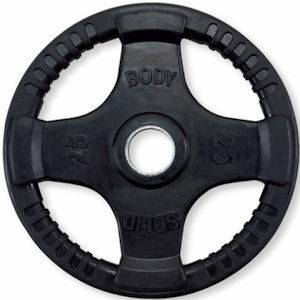 Body Solid Olympic Free Weight Plate Rubber Coated Grip Black 25