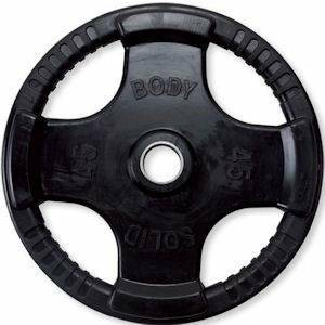 Body Solid Olympic Free Weight Plate Rubber Coated Grip Black 45