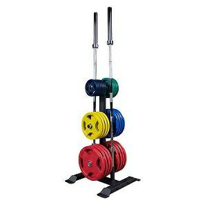 Body Solid Olympic Bumper Plate Tree 2 Bar Holder Rack GWT56