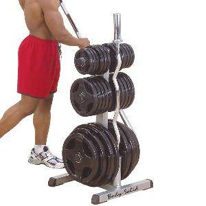 Body Solid Olympic Free Weight Plate Tree Bar Holder Rack GOWT
