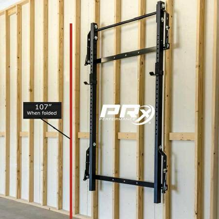 Prx performance wall mount folding squat rack with for Prx performance