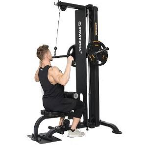 PowerTec Lat Pull Down Machine Upper Lower Pulley Curl Row P-LM