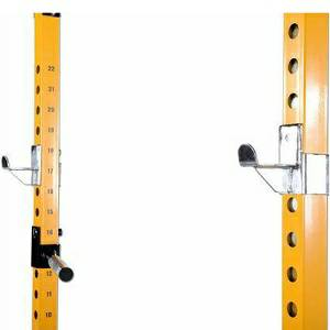 PowerTec Power Rack Bar Catch Safety Lift Off J Hook Gravity Loc