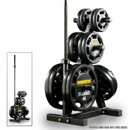 PowerTec Fitness Olympic Plate Weight Rack Storage Tree WB-WR19