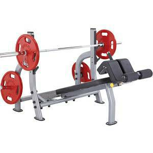 SteelFlex Olympic Free Weight Decline Bench & Spotter Stand NODB