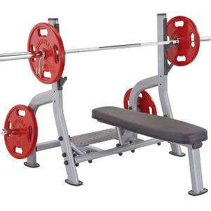 SteelFlex Olympic Free Weight Flat Bench with Spotter Stand NOFB