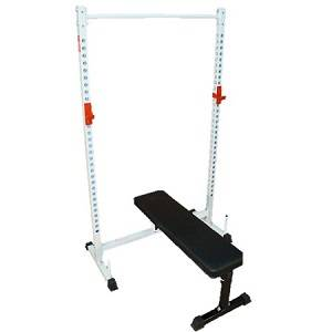 Squat Stand MultiPress Power Rack Gym with Folding Utility Bench