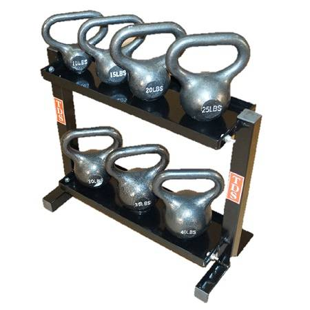 Kettlebell Kettle Bell Dumbbell Storage Weight Rack 2 Tier 24in