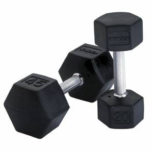 TKO Tri-Grip Hex Dumbbell Set 65 Lbs Rubber Coated Dumbells