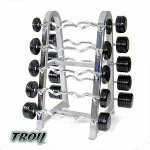 Troy Barbell Horizontal Bar Storage Rack Holds 10 Barbells BB-10
