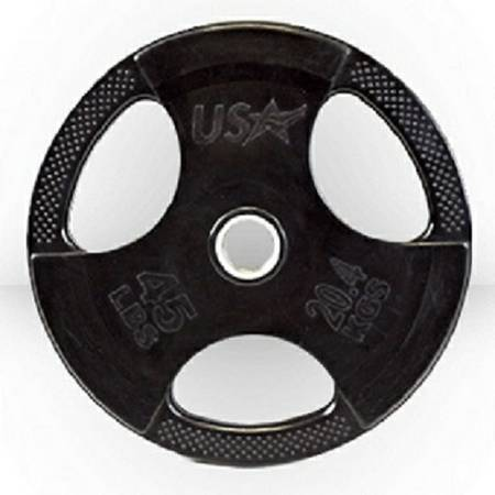 USA Sports Troy Olympic Free Weight Plate Rubber Grip Plates 45#