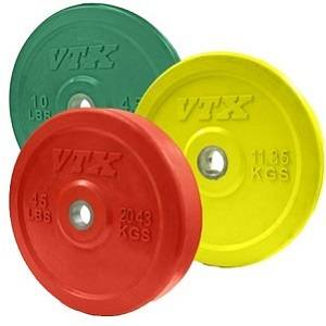 VTX Olympic Colored Rubber Bumper Free Weight Plate Set Sets 160