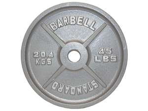 Olympic Cast Iron Metal Free Weight Lifting Plate Plates Gray 45